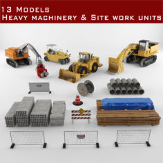 Heavy machinery and construction units 3D model 3D Model