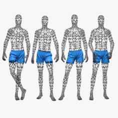 Male mannequin wire set 3D Model