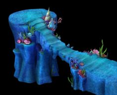 Cartoon Underwater City – Palace Bridge 02 3D Model