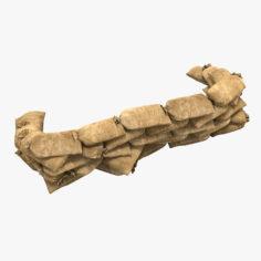Sandbag Barricade 3D Model