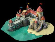 Cartoon Underwater City – Island Castle 3D Model