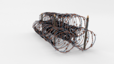 Low Poly Barb Wire Obstacle 14 3D Model