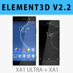 E3D – Sony Xperia XA1 + XA1 Ultra Black 3D Model