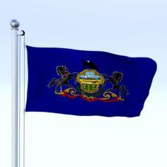 Animated Pennsylvania Flag 3D Model