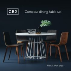 CB2 compass dining table set with Arper Aava chair 3D Model