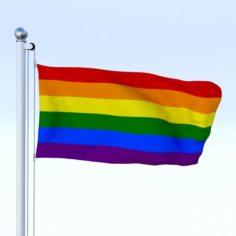 Animated Rainbow Flag 3D Model