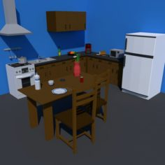 Low Poly Kitchen Collection 3D Model