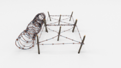 Low Poly Barb Wire Obstacle 20 3D Model