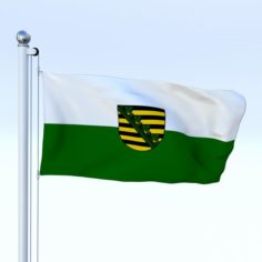 Animated Saxony German State Flag 3D Model