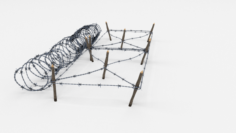 Low Poly Barb Wire Obstacle 19 3D Model