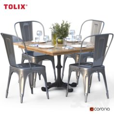 Dining set and tolix chair                                      3D Model