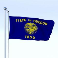 Animated Oregon Flag 3D Model