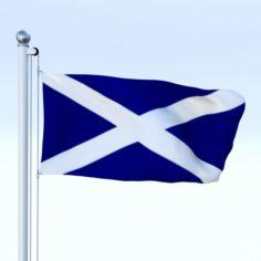 Animated Scotland Flag 3D Model