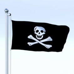 Animated Pirate Flag 3D Model