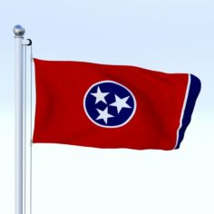 Animated Tennessee Flag 3D Model