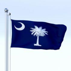 Animated South Carolina Flag 3D Model