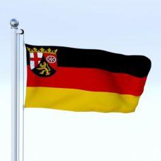 Animated Rhineland-Palatinate German State Flag 3D Model