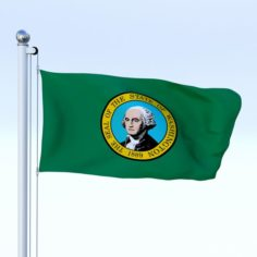 Animated Washington Flag 3D Model