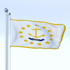 Animated Rhode Island Flag 3D Model