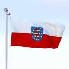Animated Thuringia German State Flag 3D Model