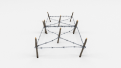 Low Poly Barb Wire Obstacle 17 3D Model
