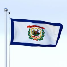 Animated West Virginia Flag 3D Model