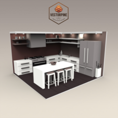 Low Poly Interiors – Kitchen 3D Model