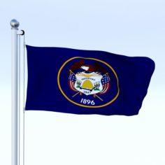 Animated Utah Flag 3D Model