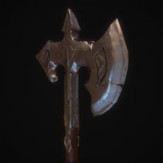 Low poly Battle Axe 3D Model