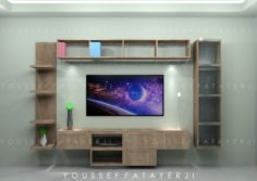 Modern Wooden Wall Mount Tv setup 3D Model