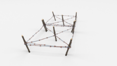 Low Poly Barb Wire Obstacle 18 3D Model