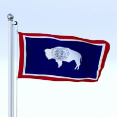Animated Wyoming Flag 3D Model