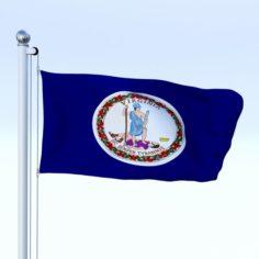 Animated Virginia Flag 3D Model