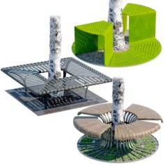 Tree Bench Grates 3D Model