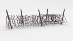 Low Poly Barb Wire Obstacle 16 3D Model