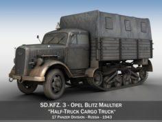 Opel Blitz Maultier – Half-Truck Cargo truck – 17 PzDiv 3D Model