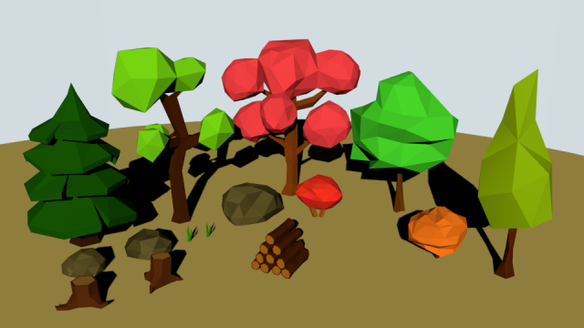 Low Poly Forest Pack 3D Model
