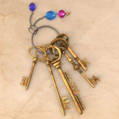 Keys with Keychain 3D Model