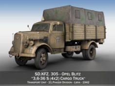 Opel Blitz – 21 Panzer-Division 3D Model