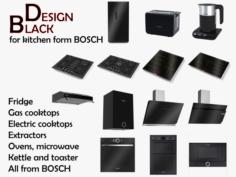 3D Black Appliance Collection For Kitchen 14 models 3D Model