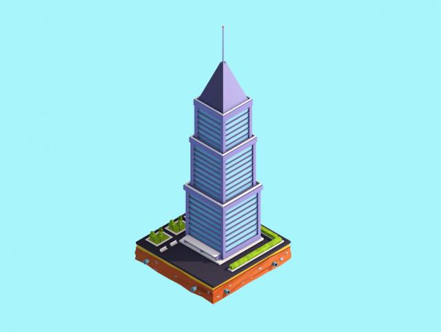 Cartoon Low Poly Skyscraper 3D Model