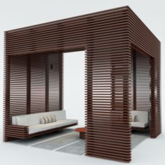 Exterior Wooden Pergola 3D Model