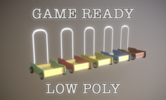 Pushing Cart Toy low poly game ready 3D Model