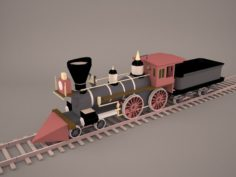 Steam Train and Caboose 3D Model