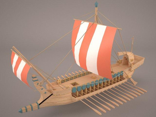 Greek Ancient Boat 3D Model