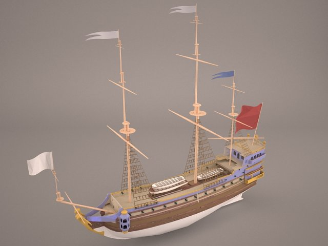 English Galeon HMS Revenge 1577 3D Model