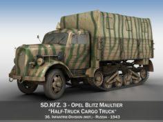 Opel Blitz Maultier – Half-Truck Cargo truck – 36 Infantry-Division 3D Model