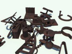 29 Metal Spare Parts 3D Model