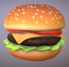 Cartoon Cheeseburger Low-poly 3D Model