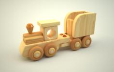 Wooden Train Free 3D Model